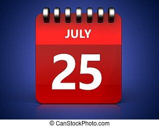 3d 25 july calendar