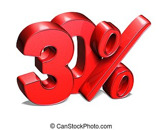 3D 30 Percent on white background