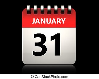 3d 31 january calendar - 3d illustration of 31 january...