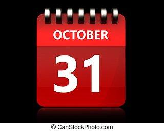 3d 31 october calendar - 3d illustration of october 31...