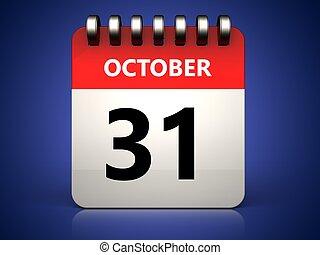 3d 31 october calendar - 3d illustration of 31 october...