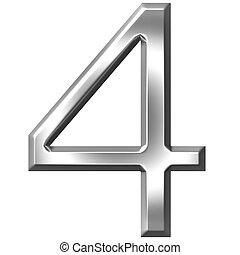 3d, 4, argento, numero
