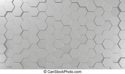 3D 4k abstract background with hexagon tiles - black and white/ monochromatic