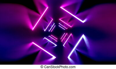 3D 4k abstract tunnel/ neon animation - rotating squares