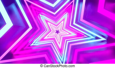 3D 4k abstract tunnel/ neon animation - rotating stars