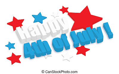 3d 4th of July Vector theme Design