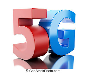 3d 5G wireless technology sign.