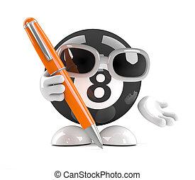 3d 8 Ball holds a pen - 3d render of an eight ball character...