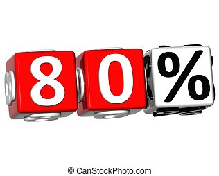 3D 80 Percent Button Click Here Block Text over white...