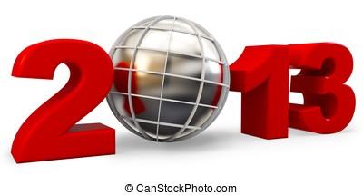 3d, año, 2013, y, globo, símbolo