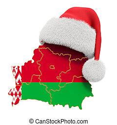 3d, año, rojo, vacaciones, santa, interpretación, nuevo, hat., belarusian, navidad, mapa, concepto