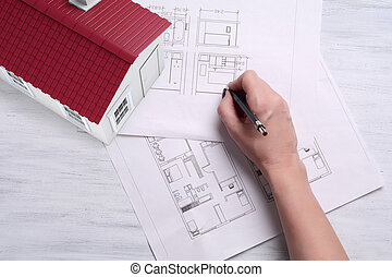 3d A house with house plan and tools.