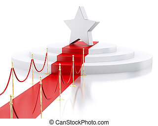 3d A star in the top of a podium with red carpet. Success concept.