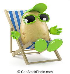 3d, aardappel, sunbathing