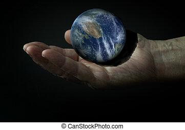 3d, aarde, op, de, hand, in het donker