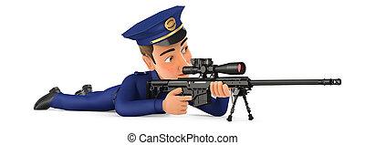 3d, abajo, policía, acostado, francotirador, rifle