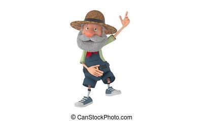 3d, abbildung, der, senioren, landwirt, bewegt, draußen,...