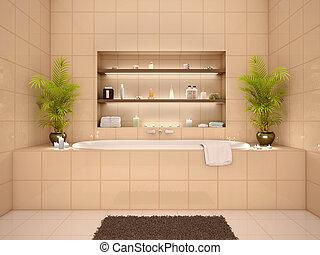 3d, Abbildung, Von, Badezimmer, Inneneinrichtung, In, Warme Töne, Mit