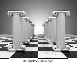 3d abstract background. Antiquity columns. 3d illustration