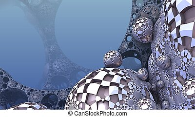 3D Abstract background from strange shapes, 3D illustration