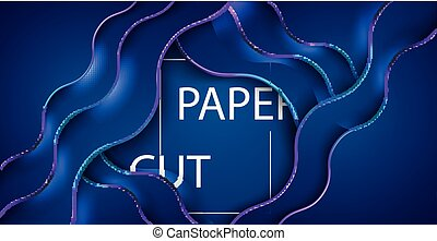 3D abstract background with blue paper cut shapes. Vector design layout for business presentations, flyers, posters.