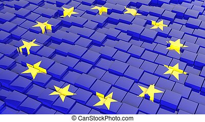 3D abstract background with flag of Europe Unio