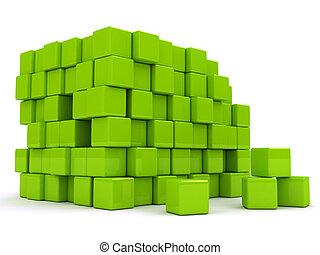 3d abstract background with green cubes.