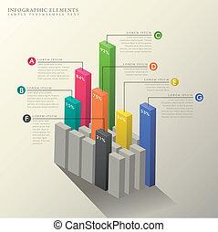 3d abstract bar chart infographics