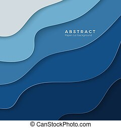 3D abstract blue background with paper cut shapes. Design layout for business and elements posters. Colorful carving art. Paper frame backdrop. Vector illustration