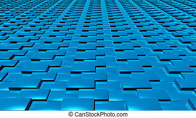 3D abstract blue pattern layer front