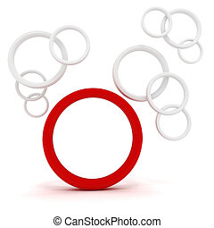 3d abstract circles on white background
