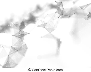 3D abstract connections background. Networking, connecting lines and dots