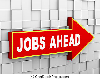3d abstract cube wall arrow - jobs ahead