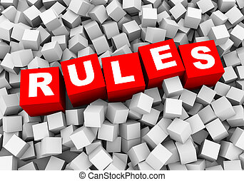 3d rendering of word text rules and abstract cubes boxes background
