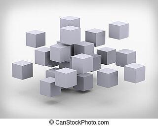3d abstract cubes design