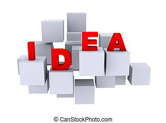 3d abstract cubes word idea design