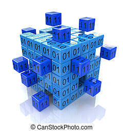 3d abstract digital blue cube with binary code