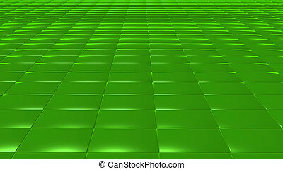 3D abstract Emerald green pattern rectangle front