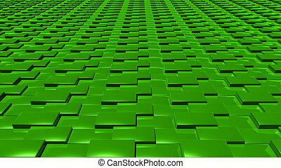 3D abstract Emerald green pattern layer front