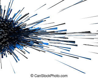 3d abstract explosion blue