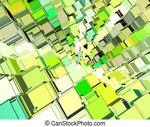 3d abstract fragmented cube pattern green yellow backdrop