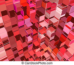 3d abstract fragmented cube pattern pink red backdrop