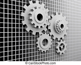 3d abstract gears