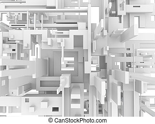 3d geometric abstract background with white parallelepipeds. 3d visualization.
