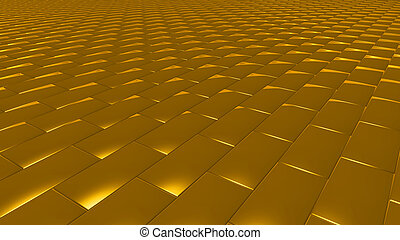 3D abstract gold pattern brick