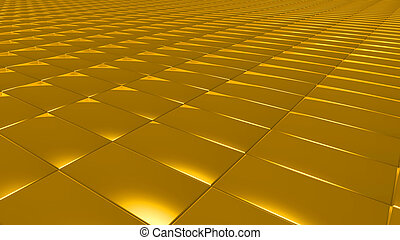 3D abstract gold pattern rectangle