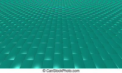 3D abstract green pattern brick front