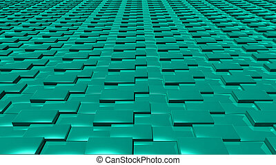 3D abstract green pattern layer front