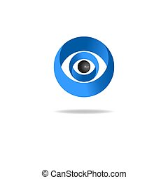 abstract human eye logo, media blue icon