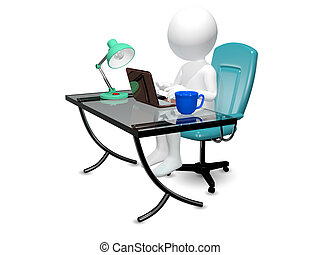man at the table - 3d abstract illustration of a man at the...